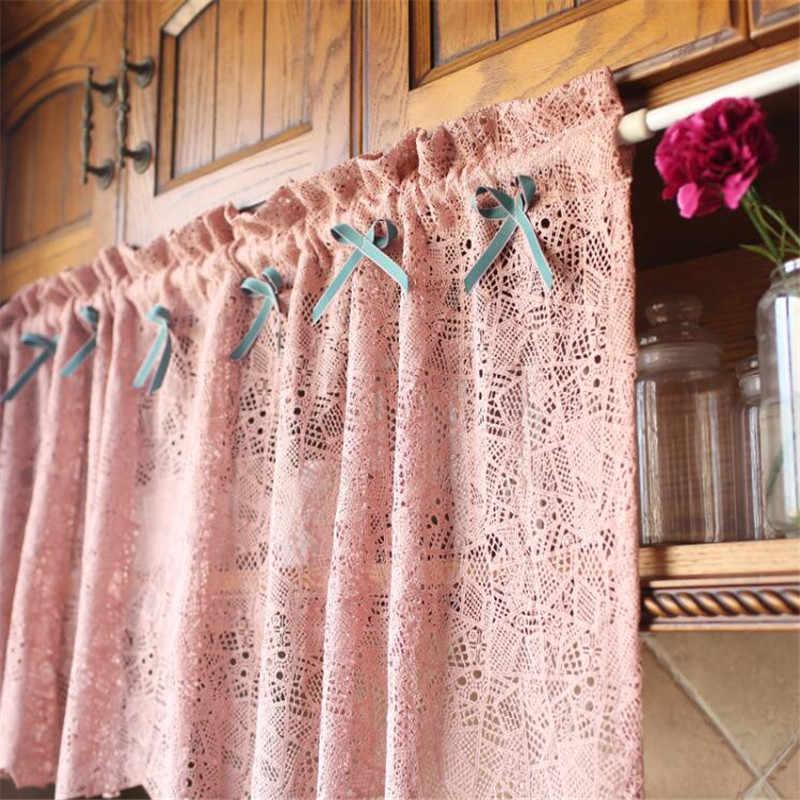 Rideau demi-rideau en dentelle café | Grille pastorale, petit rideau court de cuisine pour la décoration de fenêtre de la maison