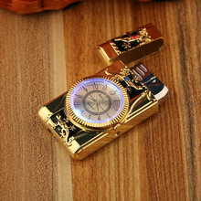 Gecko modeling Lighter Clock Watch Quartz Lighter Gas Compact Butane Jet Torch Cigarette Cigar Straight Fire Lighter Men Gift