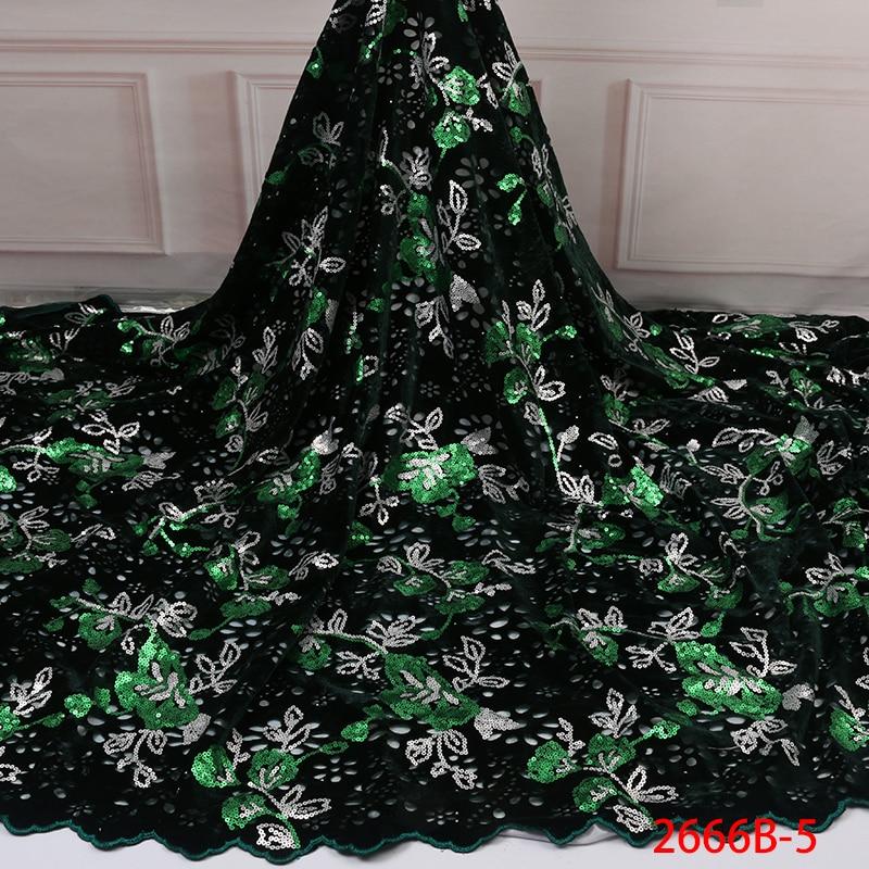 Tela de encaje de terciopelo para los últimos vestidos de tul francés nigeriano con lentejuelas de alta calidad tela de encaje africano de lentejuelas APW2666B 1-in encaje from Hogar y Mascotas    3