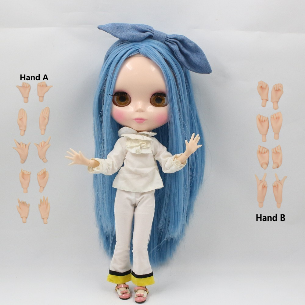 free shipping factory blyth doll long straight blue hair bangs azone joint body 230BL2749 hair color