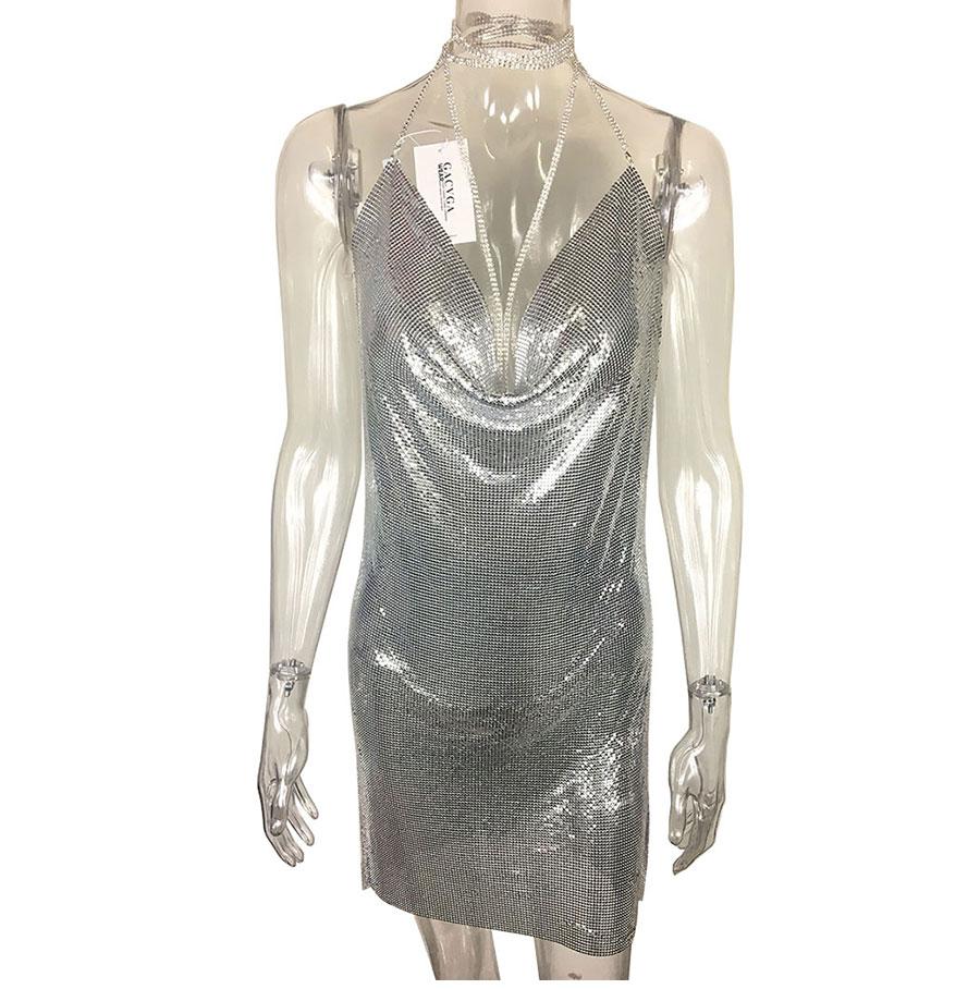 GACVGA 17 Sexy Diamond Halter Metal Party Dresses Gold Silver Summer Dress Vesitos Backless Sequins Women Dress 8