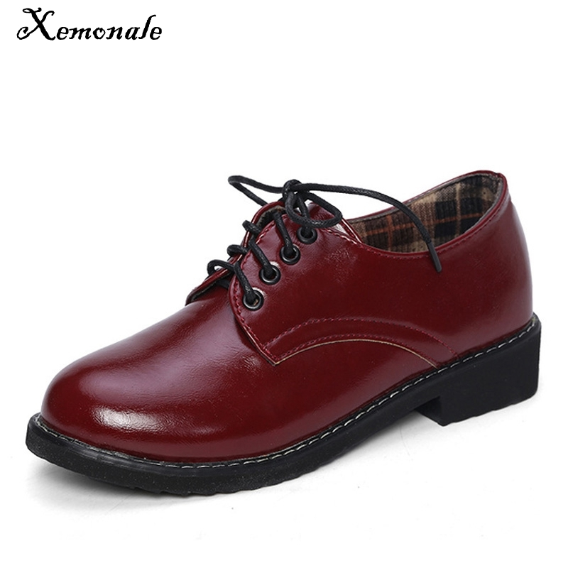 Xemonale 2017 Patent Leather Women Oxfords British Style New Spring Platform Flats Casual Lace-Up Ladies Brogue Shoes Woman n11 brand 2017 spring women platform shoes woman brogue patent leather flats lace up footwear female flat oxford shoes for women