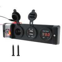 Dual USB Charger 3.1A Voltmeter 12V Cigarette Lighter ON OFF Waterproof Switch Four Panel for Car Boat Marine RV Truck Camper