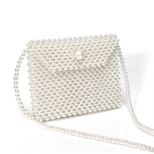 Brand Hand-woven Pearl Bags Lady Beaded Shoulder Bag Women Flip Small Flap Bag Party Vintage Handbag Fashion Crossbody Bag flip flap