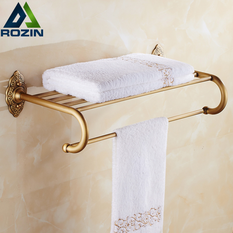 Artistic Wall Mounted Retro Style Bath Towel Shelf Antique Brass Bathroom Towel Holder Towel Bar fashionable design bathroom towel shelf antique brass shelf storage holder wall mounted