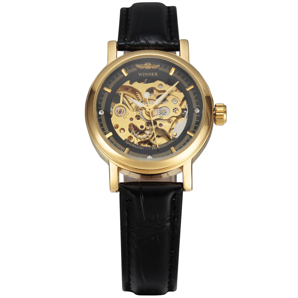 WINNER Brand Women's Fashion Mechanical Watch Gold Skeleton Automatic Dial Leather Band Classic Ladies Wristwatch Gift Clock 2017 black rose gold winner men watch cool mechanical automatic wristwatch stainless steel band male clock skeleton roman dial