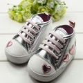 Cute Kid Toddler Baby Girl Silver Crib Heart Print Soft Shoes Walking Sneaker 0-18 M
