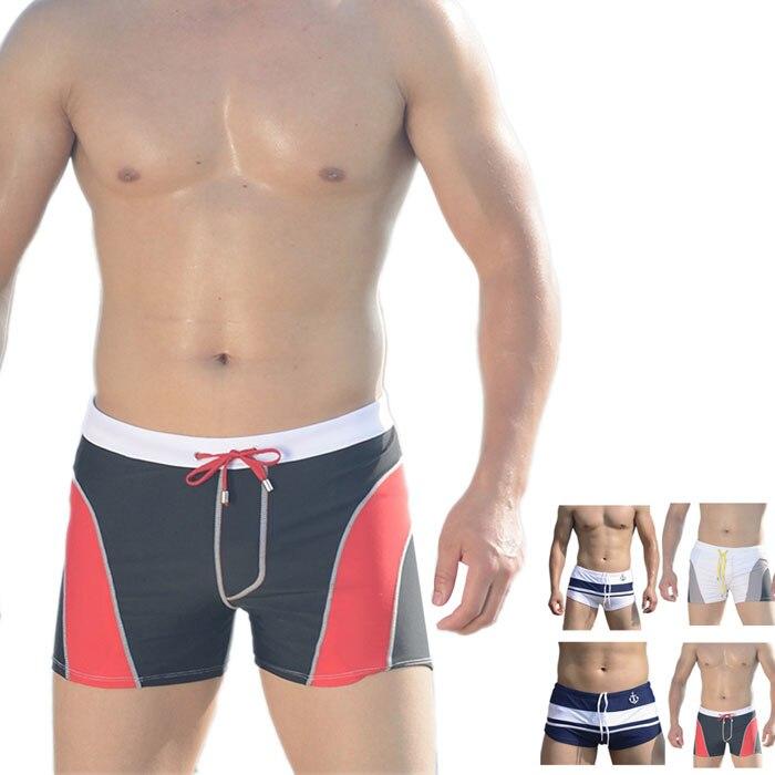 snowshine3 YLI New Men Sexy Beach Pants Shorts Stripe Color Matching Boxer Swimming Trunks Swimwear free shipping