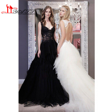 2016 Black Lace Wedding Dress with Spaghetti Straps Hollow Backless Sheer Top Tiered Skirt Plus Size Gothic tulle Bridal Gowns