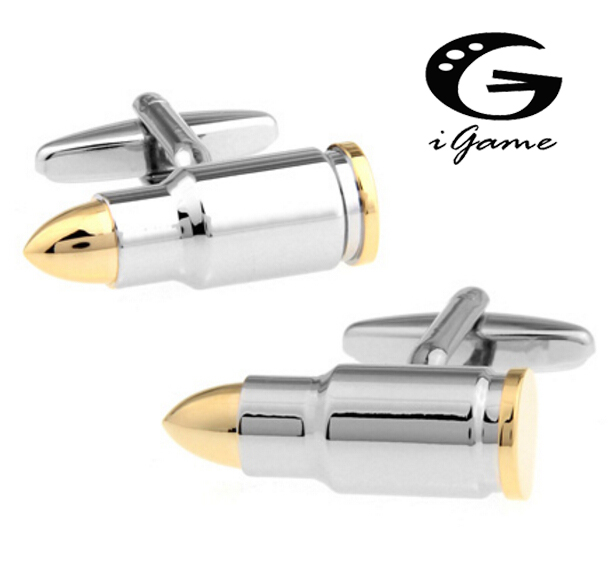 Men Jewellery Bullet Cufflinks Wholesale&retail Copper Novelty Golod-color Bullet Design Best Gift For Men
