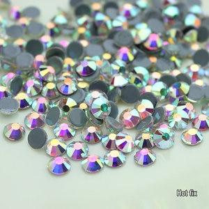 Image 3 - Toptan! 14400Pcs 1440Pcs sıcak düzeltme Rhinestone Flatback demir On düzeltme Strass kristal AB/temizle ince düğün elbisesi aksesuarları