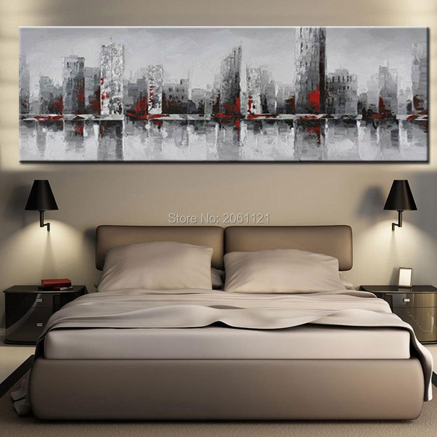ručno oslikana ogromna široka apstraktna zidna slika grada New - Kućni dekor - Foto 5