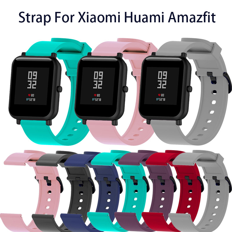 Soft Silicone Sport Strap For Xiaomi Huami Amazfit Bip Smart Watch 20mm Replacement Band Colorful Bracelet New SmartbandSoft Silicone Sport Strap For Xiaomi Huami Amazfit Bip Smart Watch 20mm Replacement Band Colorful Bracelet New Smartband