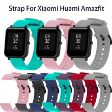 Soft Silicone Sport Strap For Xiaomi Huami Amazfit Bip Smart Watch 20mm Replacement Band Colorful Bracelet New Smartband(China)