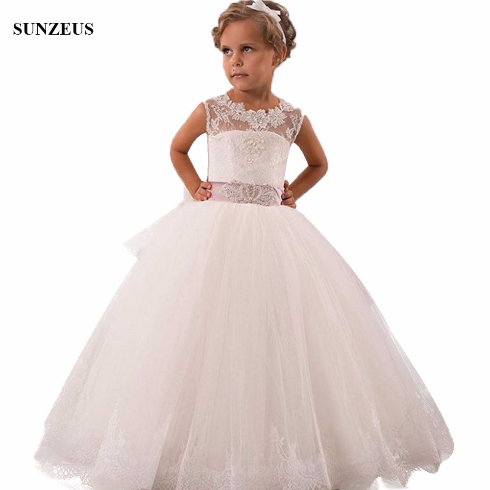 Ball Gown Appliques Tank   Flower     Girl     Dress   Ivory / White Tulle Children Party Gowns Floor Length Wedding Kids   Dress   FLG083