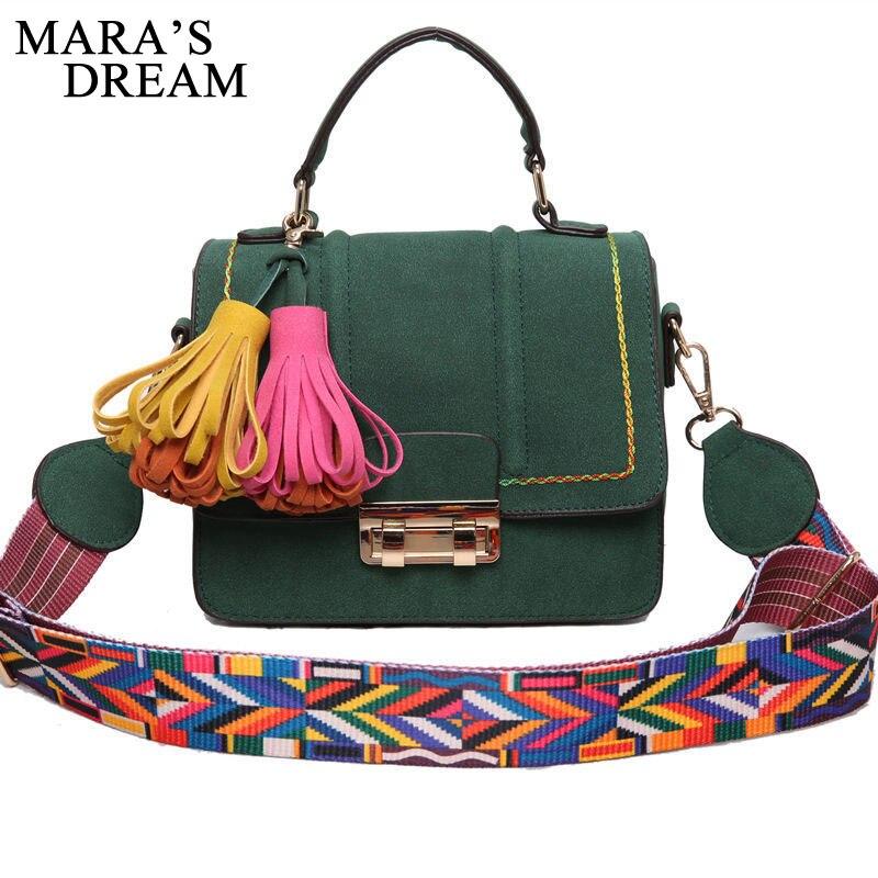 Maras Dream 2018 Tassel Women Shoulder Bags Colorful Strap Handbag Famous Brand Solid Women Flap Messenger Bags Bolsas Feminina
