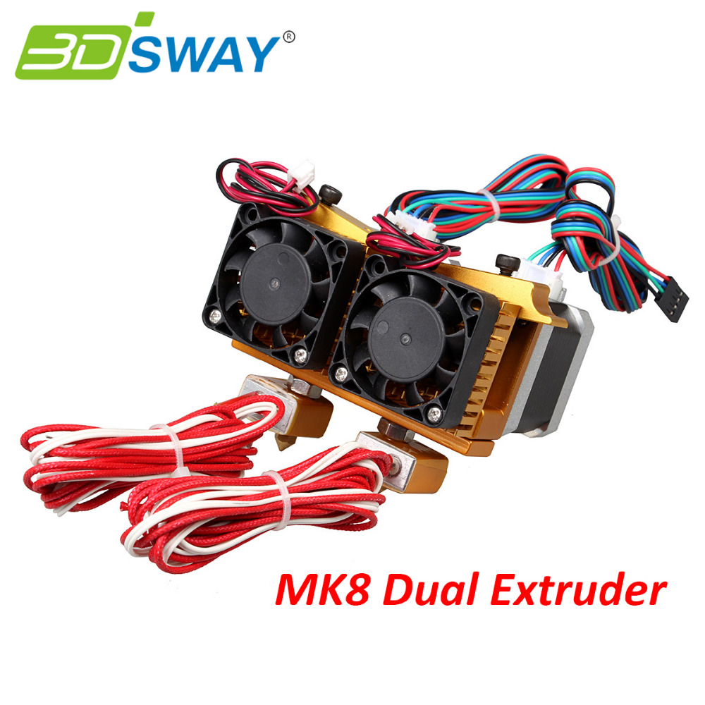 3DSWAY 3D Printer Dual Color Extruder 12V/24V Makerbot Dual Nozzle MK8 Extruder 0.2/0.3/0.4mm Double Print Head for 1.75mm wholesale 3d printer makerbot mk8 dual exturder 0 2 0 3 0 4mm nozzle 1 75mm abs pla printer head