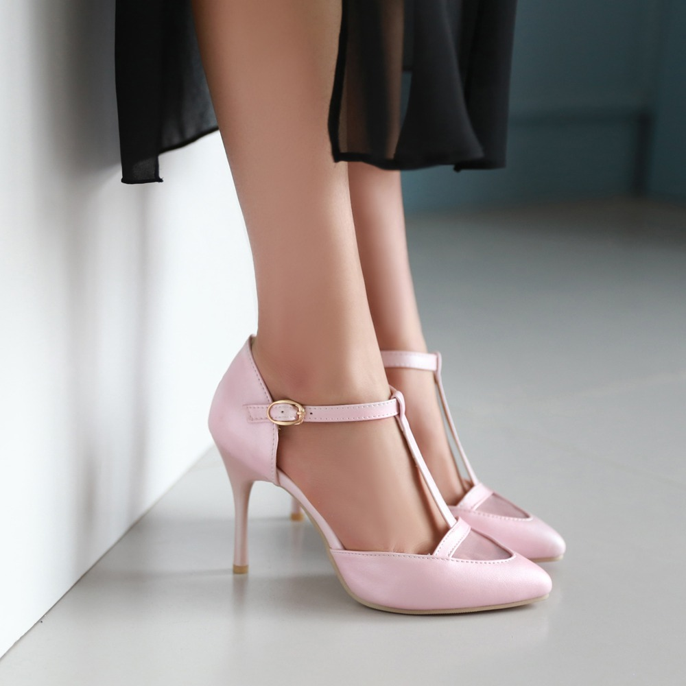 ФОТО New arrive big size shoes women pink pumps fashion summer white stilettos high heels pointed toe T-strap wedding shoes