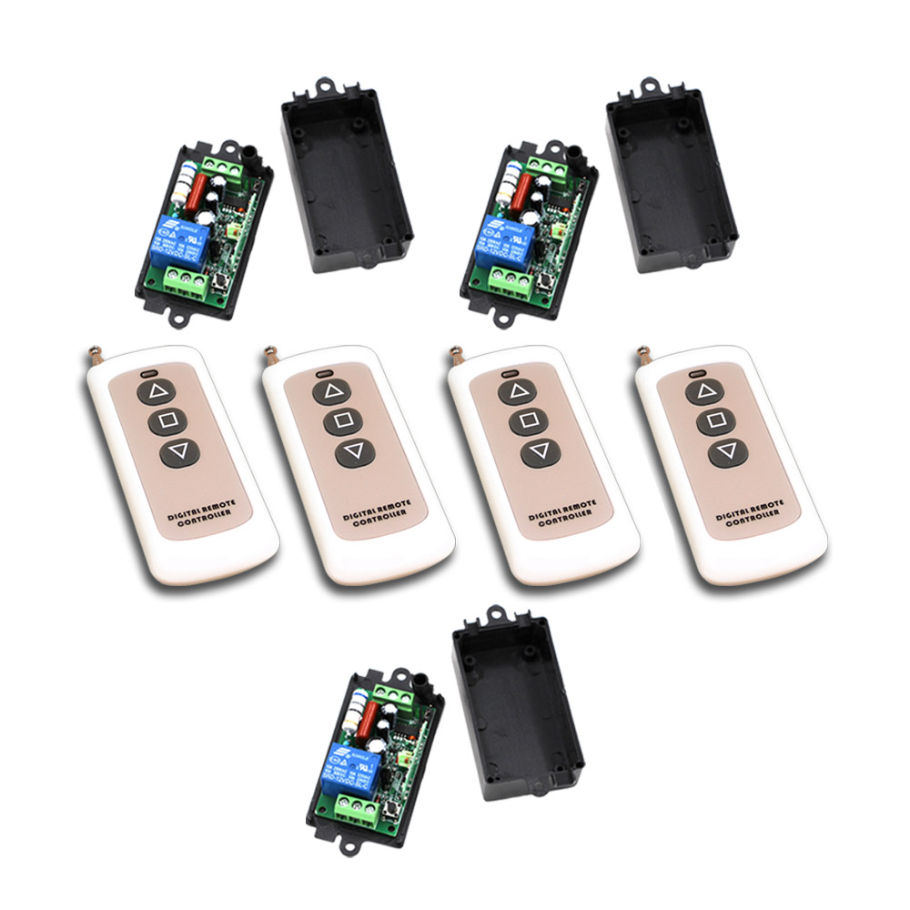 New Safe AC110V 220V 1CH RF Wireless Remote Control Switch System 4Transmitter+3Receiver with Black Case 315/433mhz Hot Sales wireless pager system 433 92mhz wireless restaurant table buzzer with monitor and watch receiver 3 display 42 call button