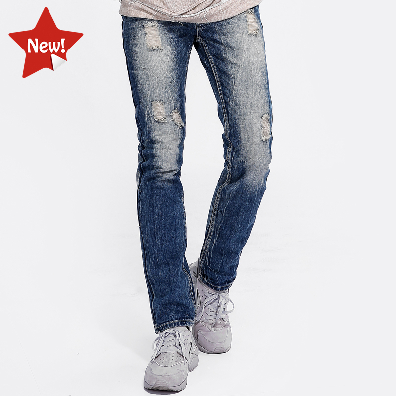 Casual Style Denim Blue Ripped Jeans Men Tousers High Quality Cotton Men`s Destroyed Jeans Designer Brand Jeans Uomo Pants 96K4