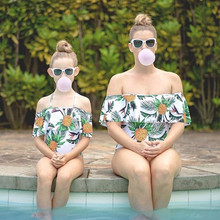 Family Matching Pineapple Print Bikini Swimwear