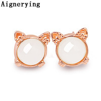 Natural White Jade Earings Pure 925 Sterling Silver Fine Jewelry Rose Golden For Women Cool Gift tray Supply Vintage with Box