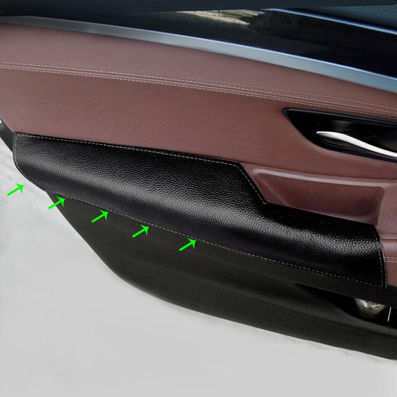 Автомобиль вождения сторона коровья кожа дверь подлокотник ручка Pull Защитная крышка для BMW 5 Ser F10 F18 2011 2012 2013 2014 2015 2016 2017-in Лепнина для интерьера from Автомобили и мотоциклы