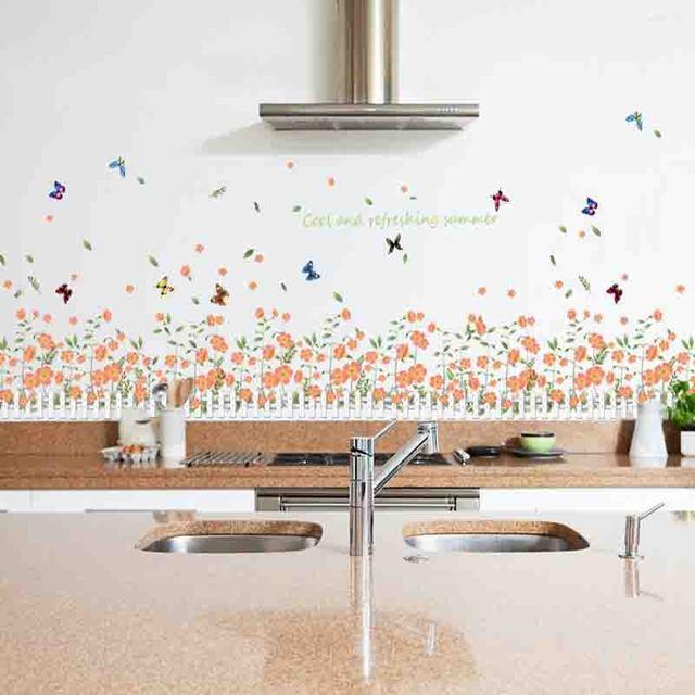 Sticker Mural Jardin Fleurs Papillon Clôture Plinthe Ligne Pour