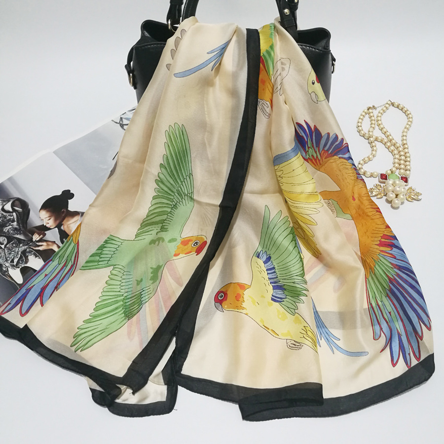 Silk Scarf Wrap Print Bird Scarves Foulard Shawl Hijab Luxury Brand Bufandas Cape Head Scarves Oversize Beach Towel SF033