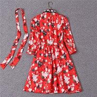 נשים מותג הלבשה 2018 פנים לב מודפס שמלה אדומה שמלות חצי שרוול באיכות גבוהה מזדמן תורו למטה צווארון אביב שמלות