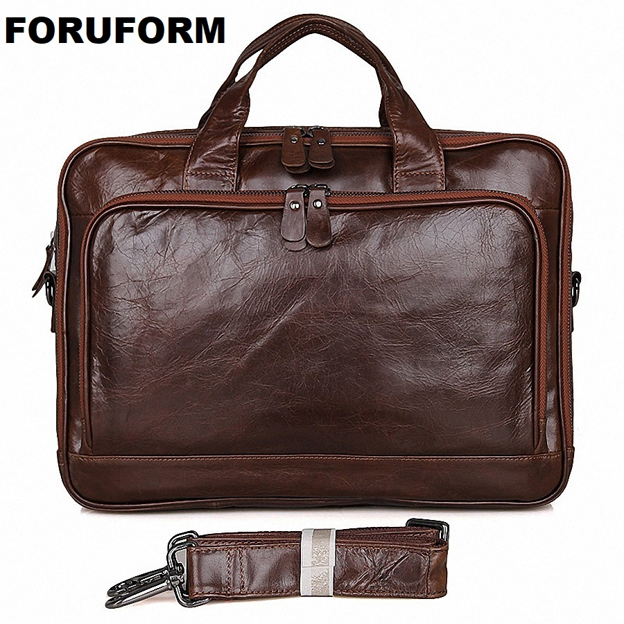 Genuine Leather Men Messenger Bags Business 14 Inch Laptop Bag men's Briefcase Tote Shoulder Laptop men's Travel Handbag LI-1754 100% genuine leather men messenger bags business bag 17 inch laptop men bags briefcase tote shoulder men s travel bag li 1448
