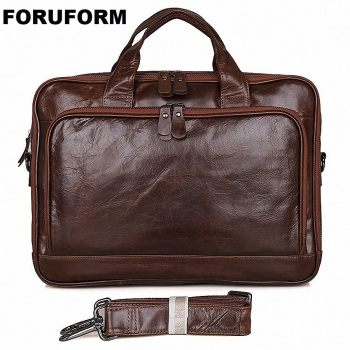 Genuine Leather Men Messenger Bags Business 14 Inch Laptop Bag men's Briefcase Tote Shoulder Laptop men's Travel Handbag LI-1754