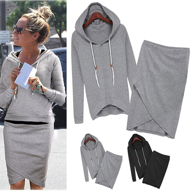2576ce14633 New Fashion Women Suits Leisure Sweatshirts Spring Autumn Casual Tracksuit  Top And Skirt 2 Piece SV004932