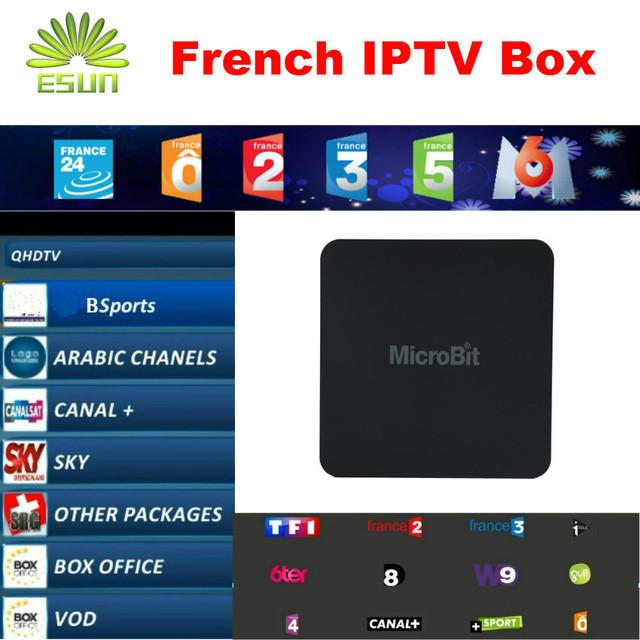 ESUN Mbox Mini Con Neotv QHDTV Libre de 1 Año 900 + Francés IPTV Árabe IPTV TV Box Android4.4 10000 + Libre MoviesSmart TV Box leadtv
