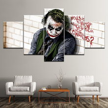 Canvas Painting Batman Joker Dark Knight 5 Pieces Wall Art Painting Modular Wallpapers Poster Print for living room Home Decor(China)
