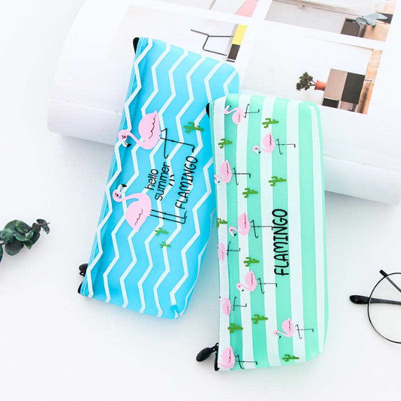 1X Kawaii Flamingo PU pen bag jelly glue cartoon pen bag students pencil special stationery stojo escolar school supplies
