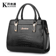 KLY 100% Genuine leather Women handbags 2016 New bright crocodile high-grade shoulder bags of western style air bag