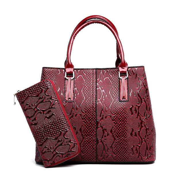 f6c6349f50 Designer Handbag High Quality Chinese Style Red Serpentine Fashion PU  Leather Women Bag Two Set Purse Sac A Main Ladies Tote Bag