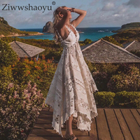 Ziwwshaoyu Vacation Embroidery Long dresses V Neck Hollow Out Tassel irregular Elegant Party dress Spring and summer new women's