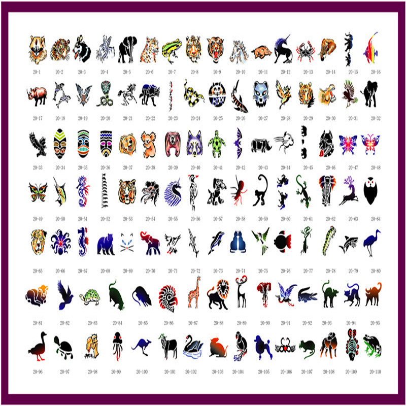 110 Designs Festival Animal Airbrush Tattoo Stencils sticker Temporary Flash Tattooing Body Paint Beauty Makeup #Book 20 120 designs temporary glitter tattoo stencil book for flash body paint airbrush tattoo template mixed designs free shipping