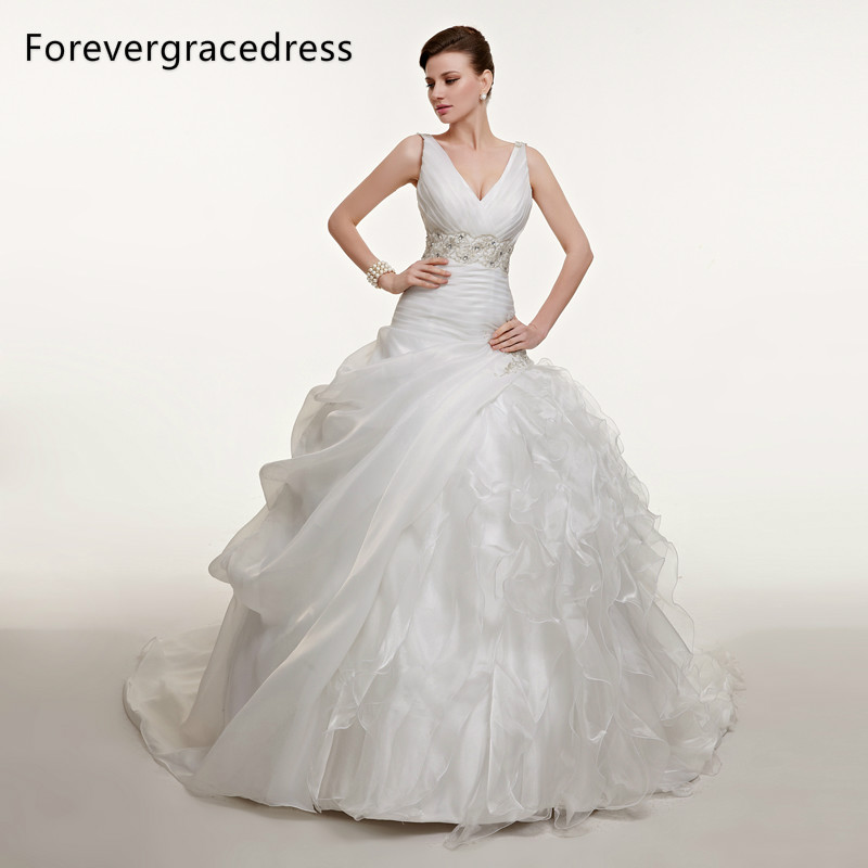 Forevergracedress Vintage V Neck Long Wedding Dress White