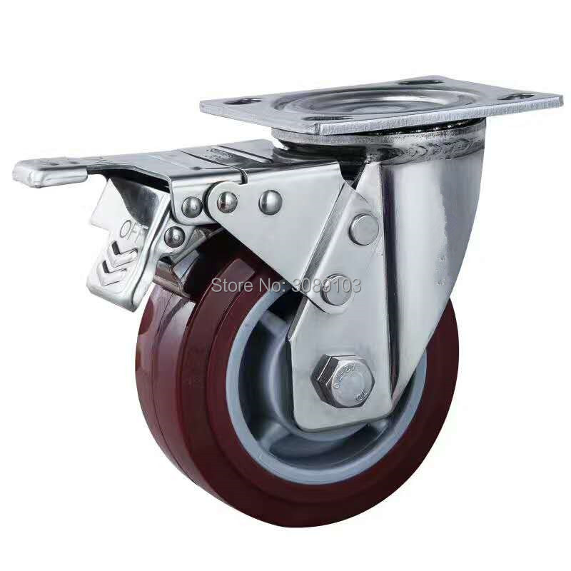 304 Stainless steel 6 inch Food processing heavy duty solid PU industrial waterproof caster with brak