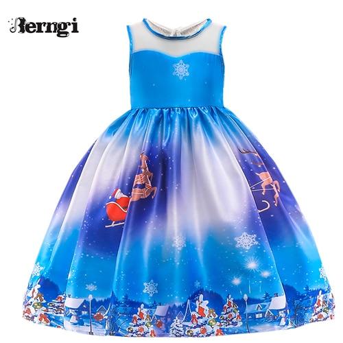Berngi/новое красивое платье с принтом для девочек; vestidos; платье принцессы Санты для маленьких девочек; рождественские наряды; одежда - Цвет: Style C