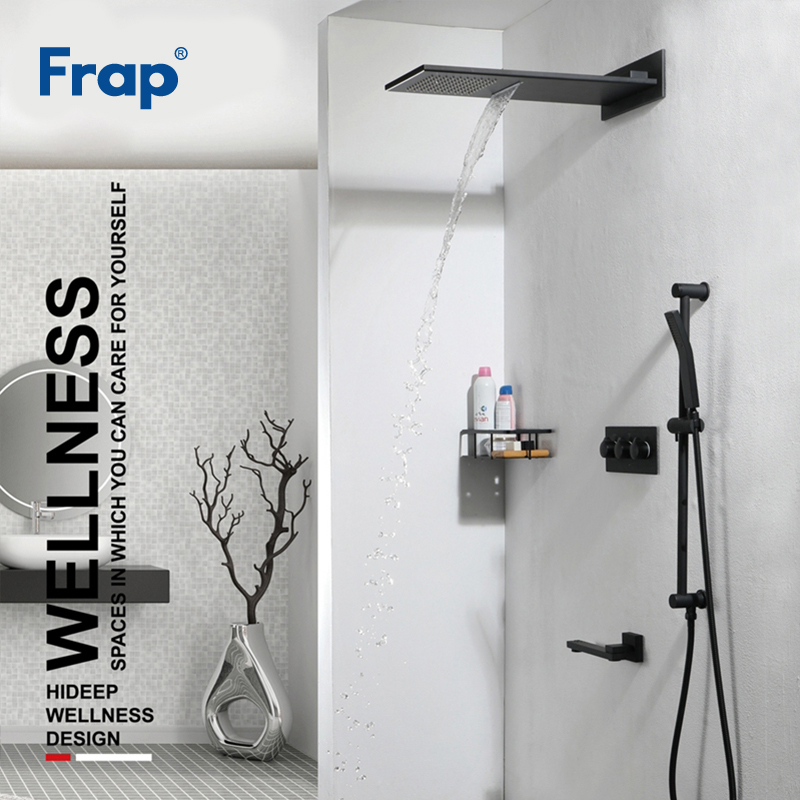 Frap New Arrival Brass Black Wall Mounted Bathroom Shower Faucet Large Rainfall Bath Shower System Set