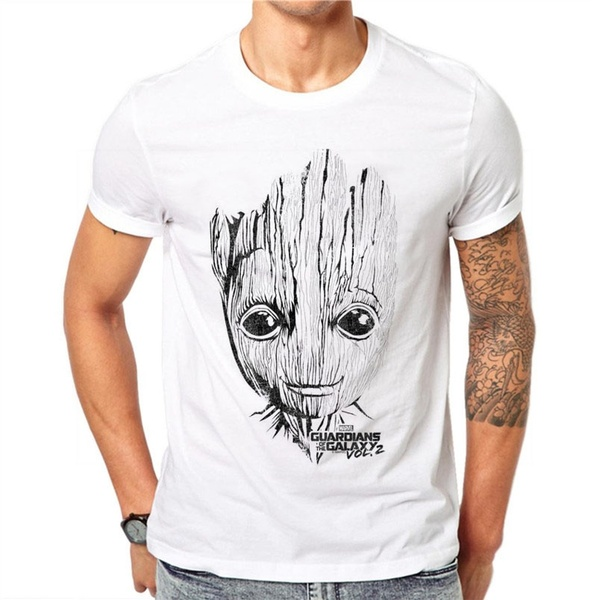 100% Cotton Summer Fashion Men T Shirt Short Sleeve O-neck Groot Printed T Shirts Cool Tee Streetwear