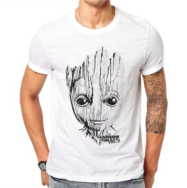 100% Cotton Summer Fashion Men T Shirt Short Sleeve O-neck Groot Printed T Shirts Cool Tee Streetwear