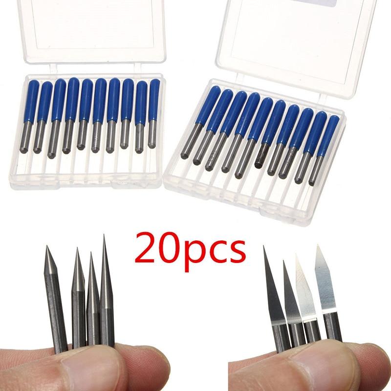20 unids piezas de carburo PCB brocas de grabado 3.175mm CNC broca de enrutador 10/15/20/30 grados herramientas de fresado