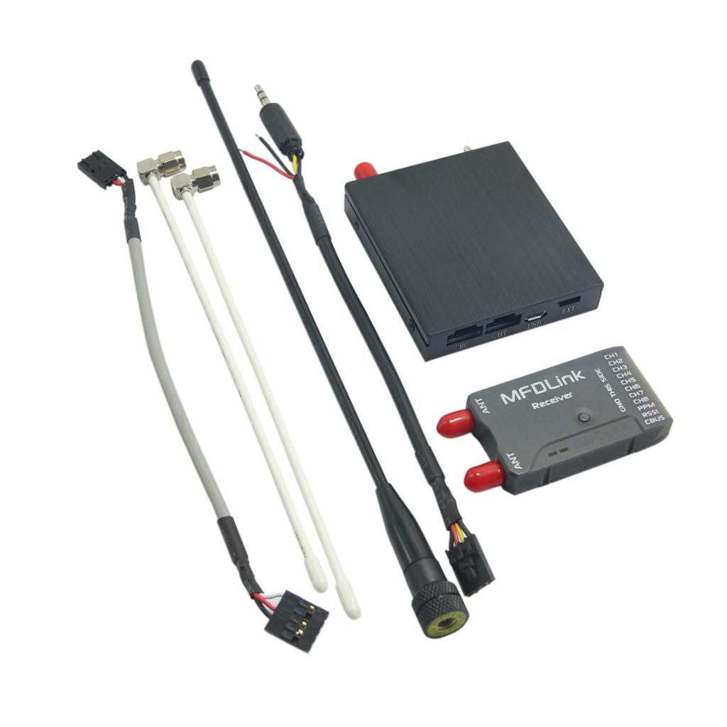 Rlink V2 433Mhz 16CH Long Range UHF System Transmitter with 8CH Receiver for FPV Remote Controller 50km long range mfdlink rlink 433mhz 16ch 1w fpv uhf system transmitter w 8 channel receiver tx rx set