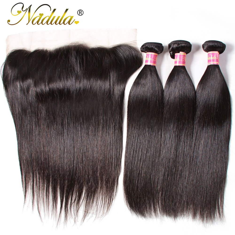 Nadula Hair Brazilian Straight Hair Bundles With Frontal 8 30inch Remy Human Hair Bundles With Closure