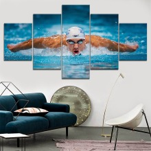 Michael Phelps Swimmer Sport Painting 5 Piece Modular Style Picture Modern Canvas Print Type Home Decor Wall Artwork Poster